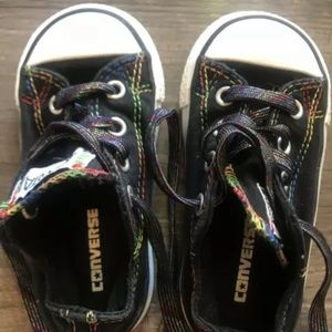 Black Toddler Size 6 Converses with Rainbow